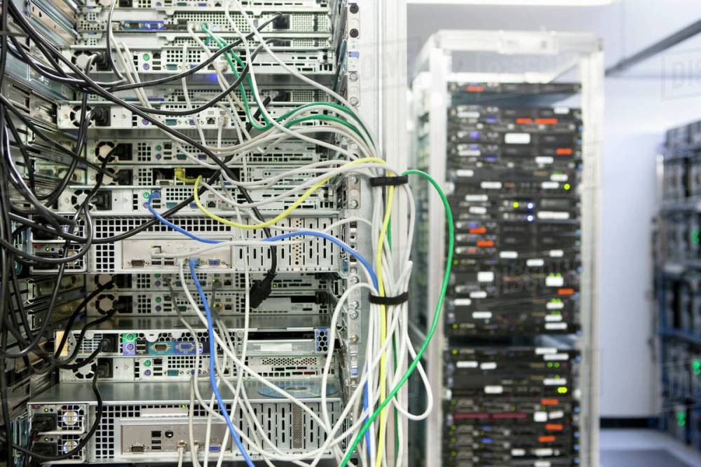 medium resolution of complex array of wires at back of server cabinet