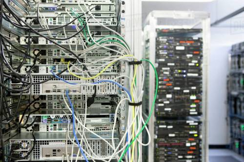 small resolution of complex array of wires at back of server cabinet