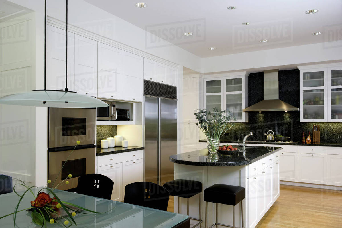 Horizontal With Frosted Glass Top Table In Foreground Kitchen