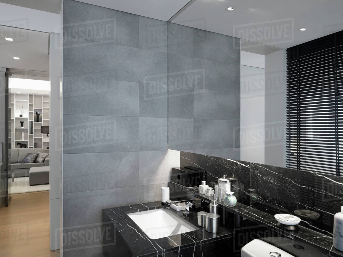 modern bathroom with black and white marble sink d145 201 962