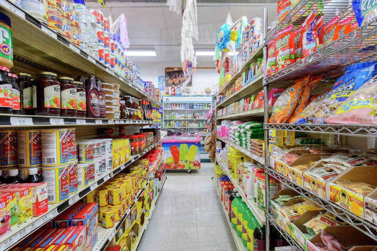 food on shelves of