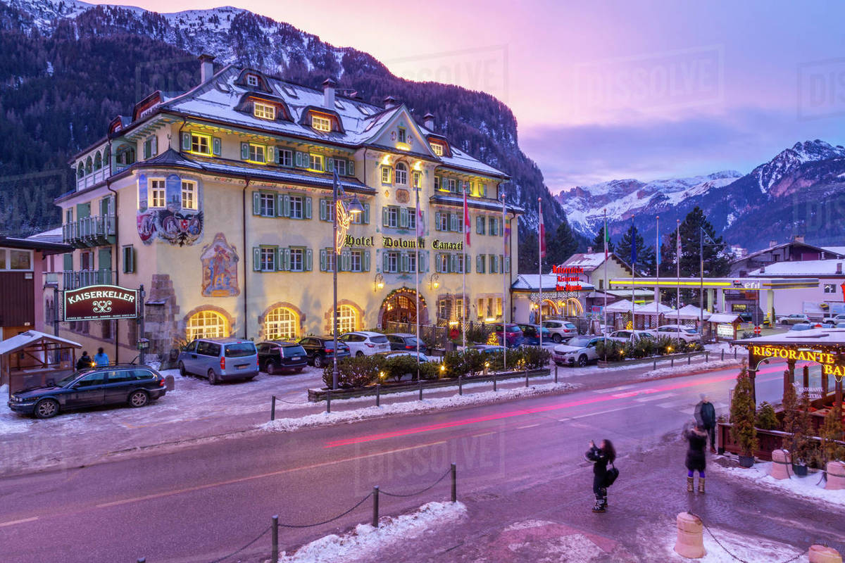 View Of Hotel Dolomiti Canazei At Dusk In Winter Canazei D246 115 10242