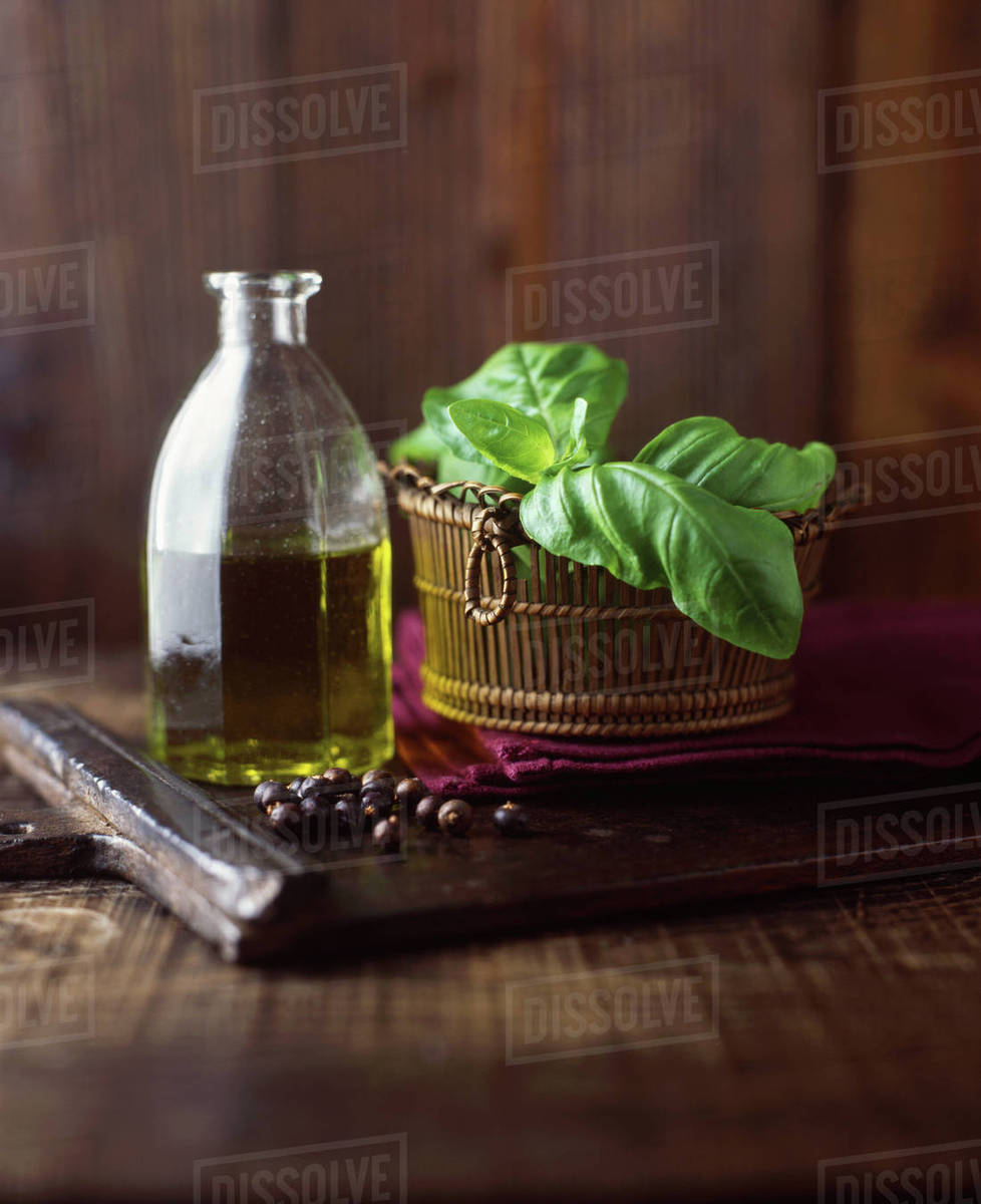 Olive Oil On Wood Cutting Board