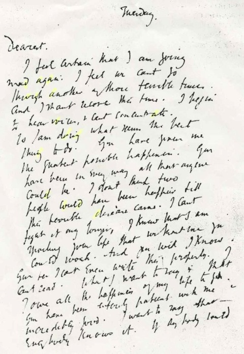 Virginia Woolf's Handwritten Suicide Note: A Painful and