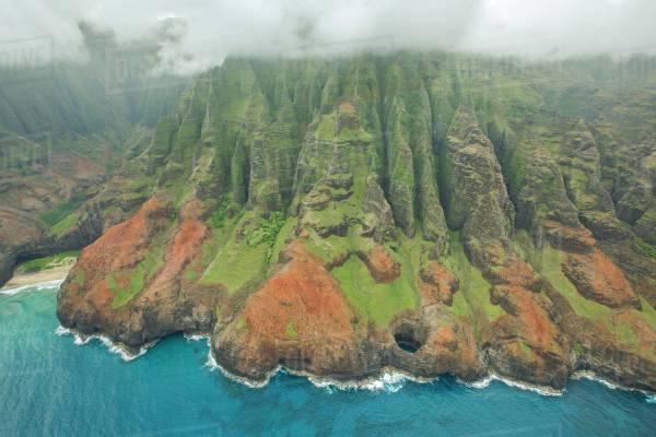 Aerial View Of Na Pali Coast Hawaiian Island