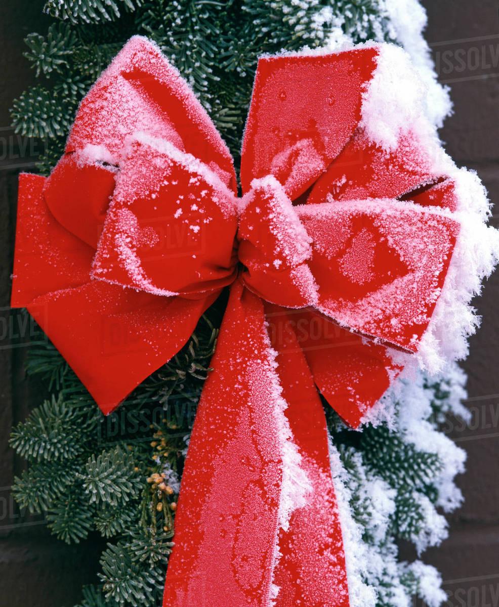 christmas wreath hanging on