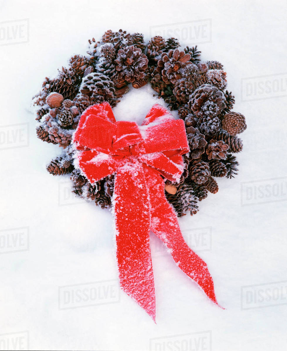 christmas wreath with red