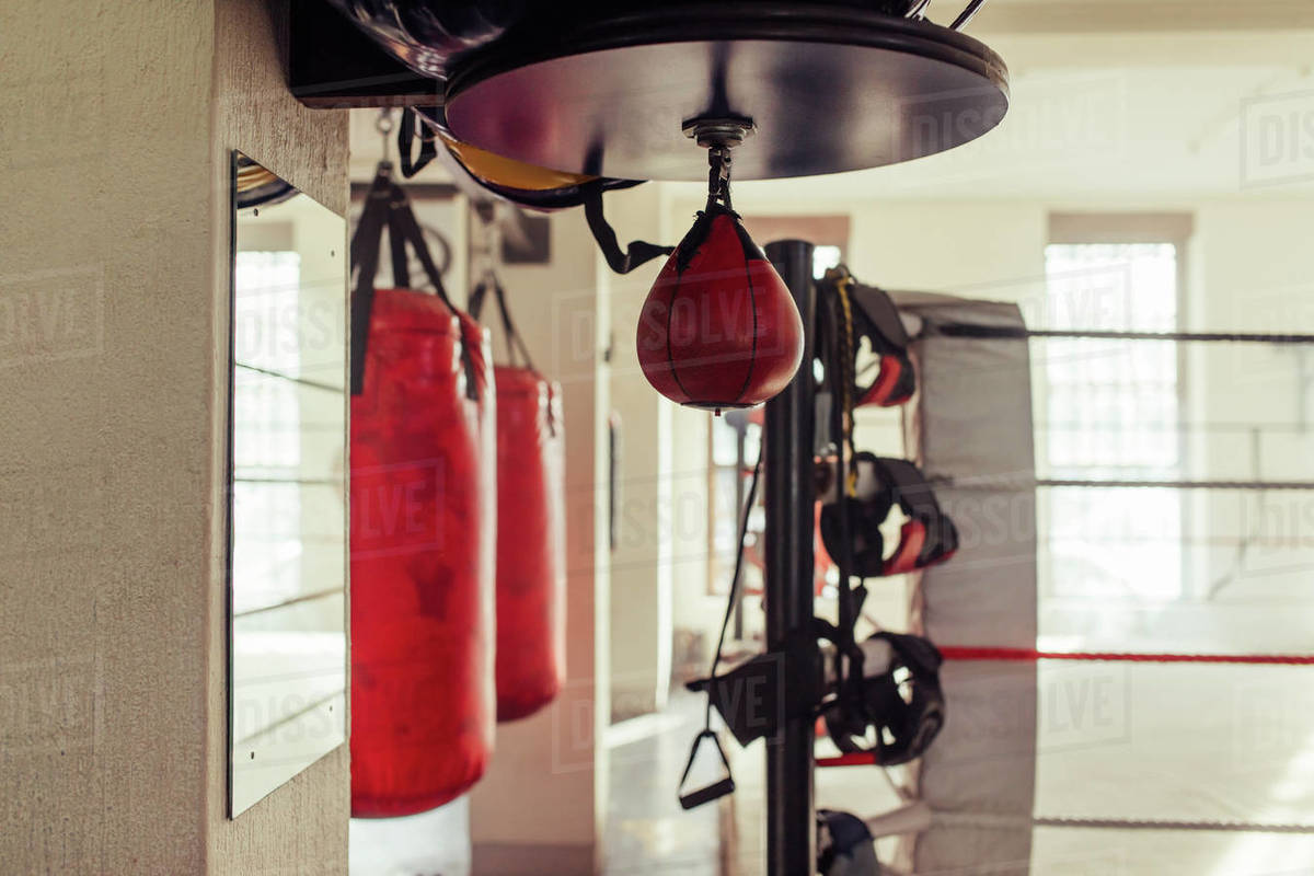 small red punching bag