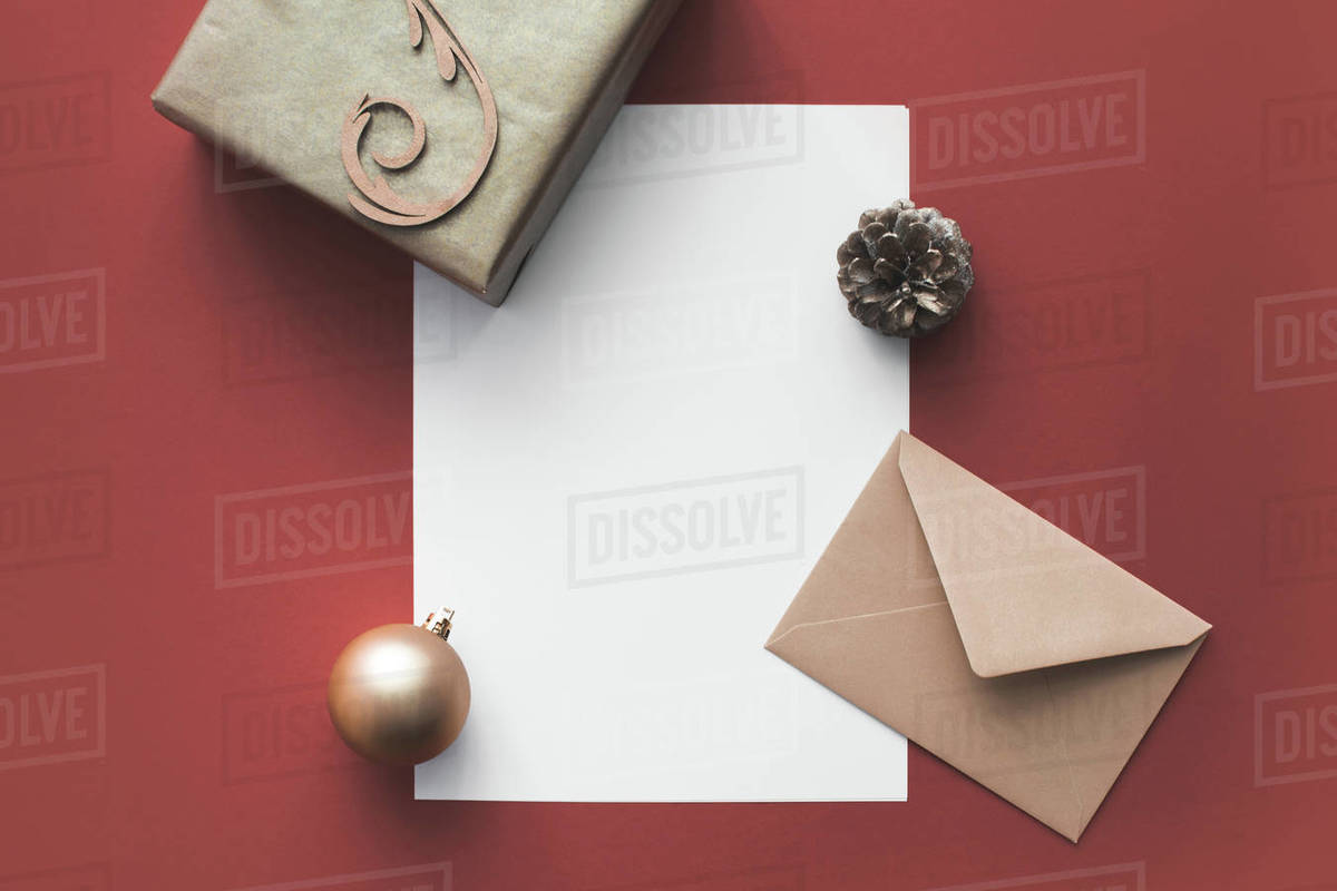 Empty Christmas Card With Envelope And Christmas Decorations Isolated On D2115 211 733