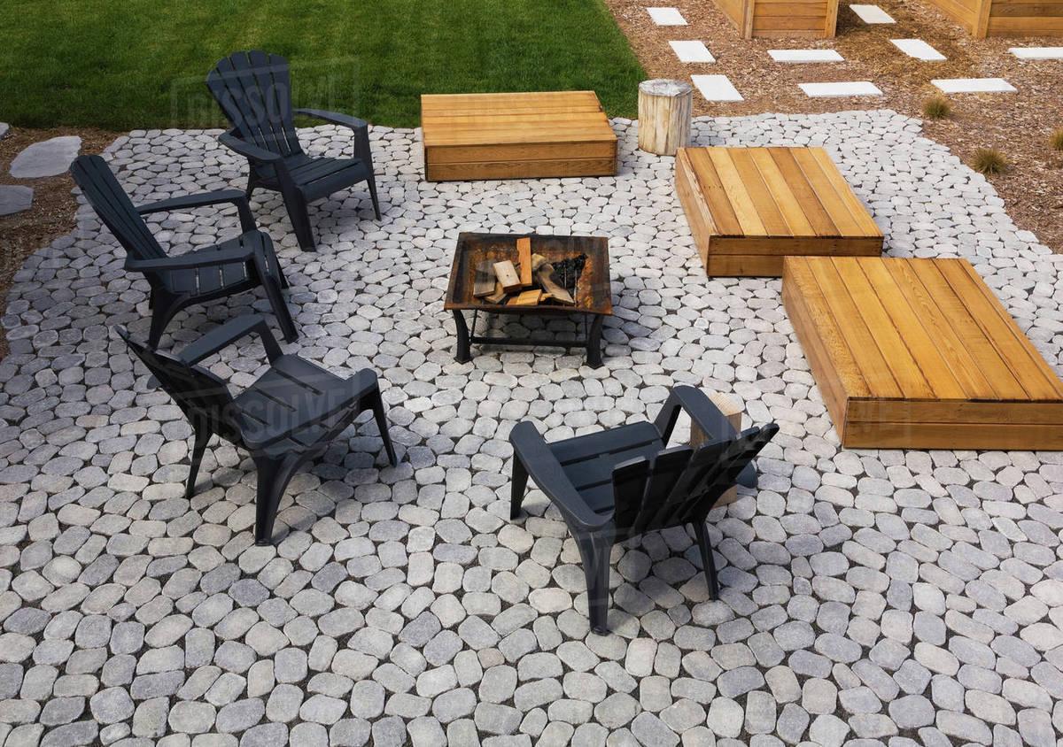 grey paving stone patio