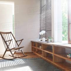 Bedroom Rocking Chair Wooden Dining Room Chairs And Rug In Modern Stock Photo Dissolve