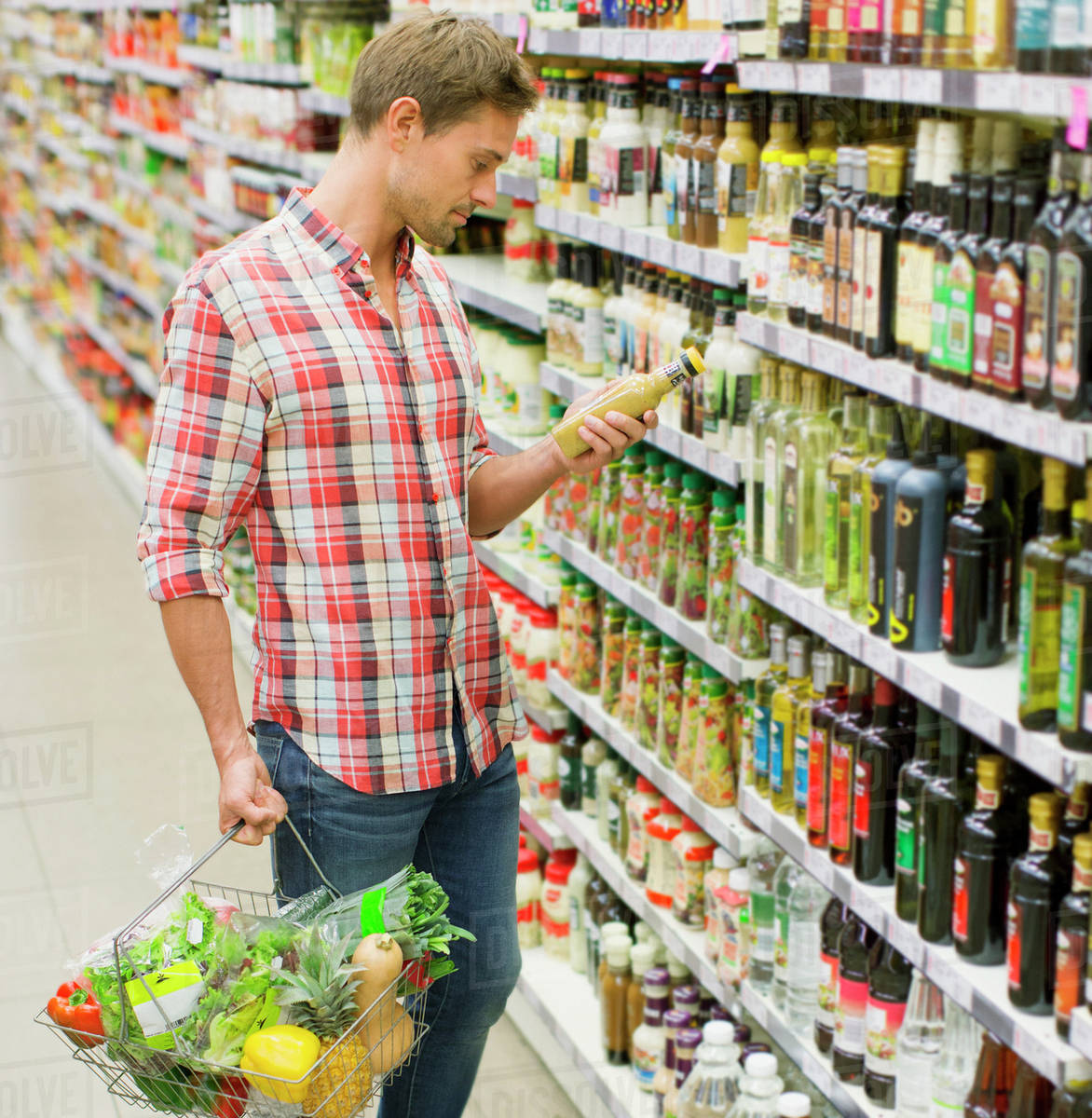 man shopping in grocery