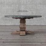 Restoration Hardware Salvaged Wood Marble Trestle Round Dining Table