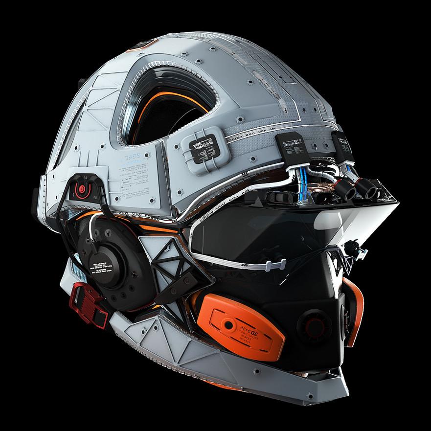 Futuristic Space Helmet Concept Art Exploring Mars