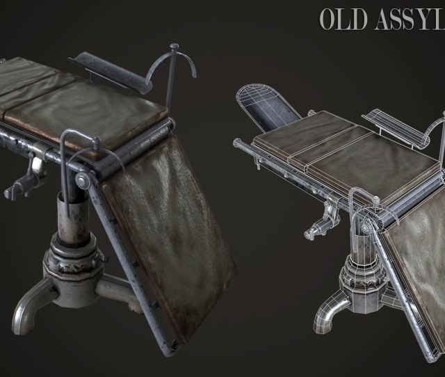 Old Assylum Bedtexture And Wireframe Render
