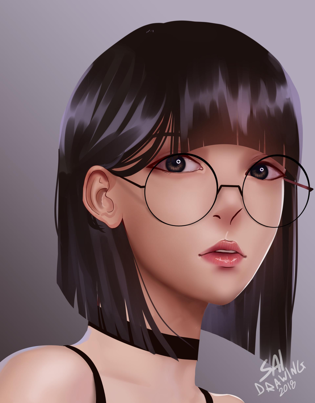 Girl With Short Hair Drawing : short, drawing, Drawing, Short