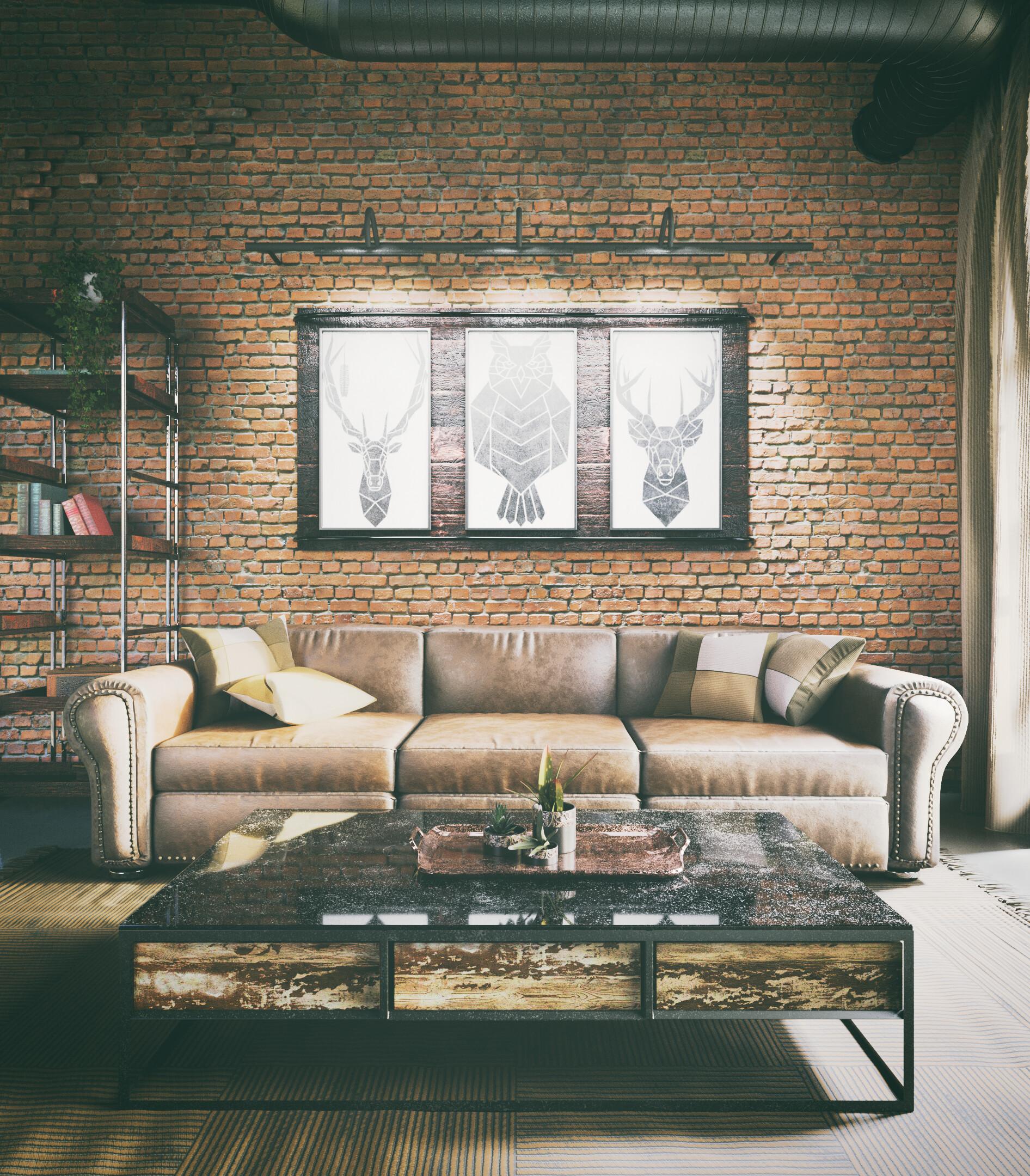 Artstation Industrial Style Living Room Marija Zegarac