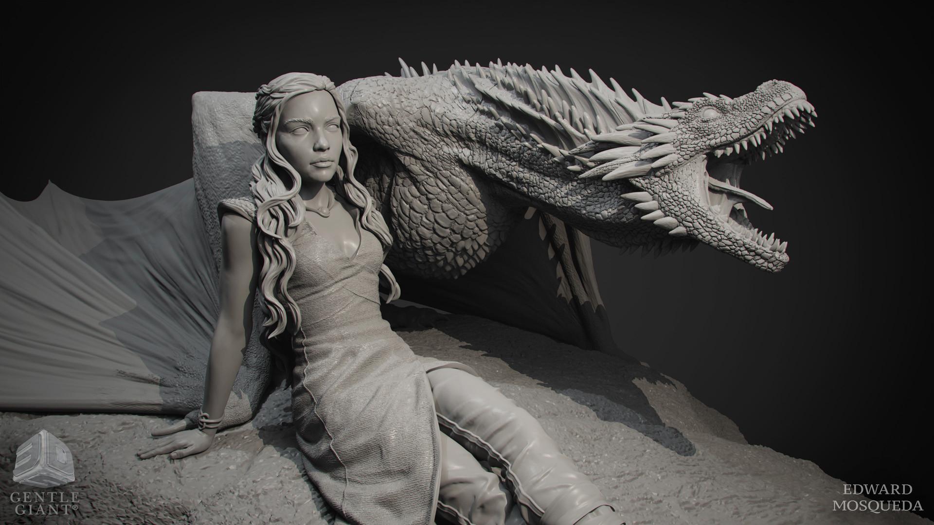 Edward Mosqueda - Daenerys Targaryen Drogon Game Of Thrones Statue
