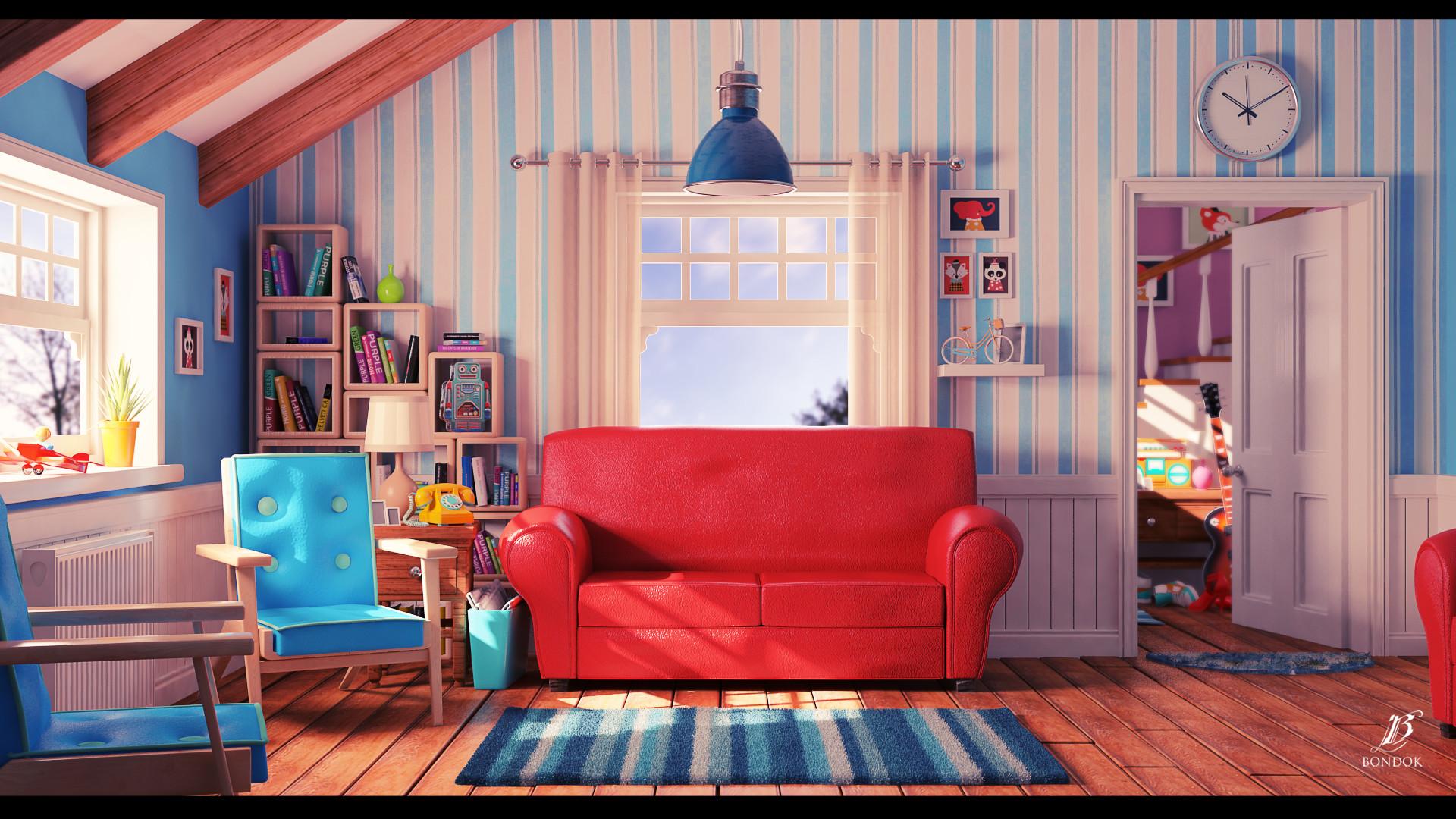 Artstation - Cartoon Living Room Bondok Max