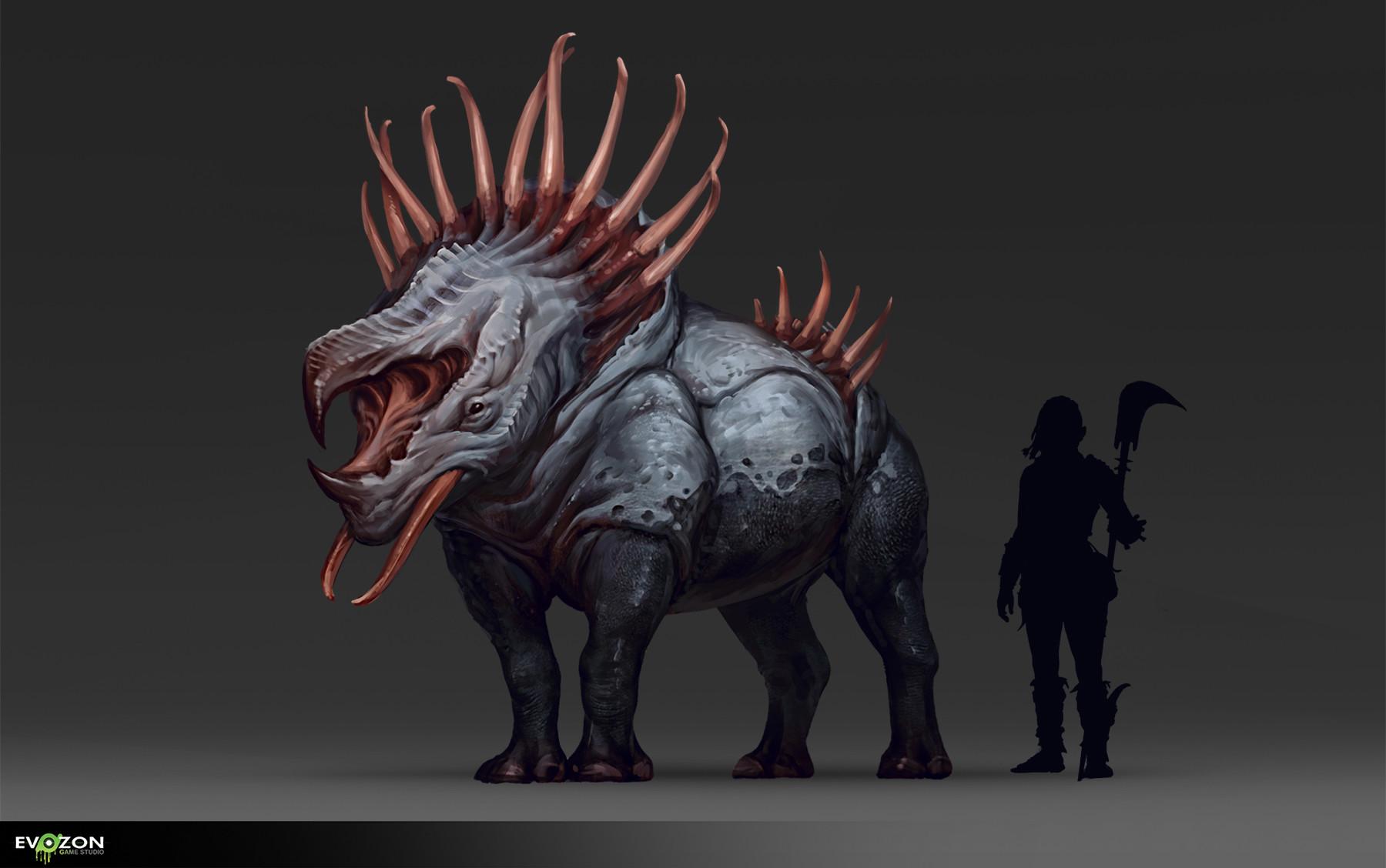 artstation fantasy rhinoceros evozon