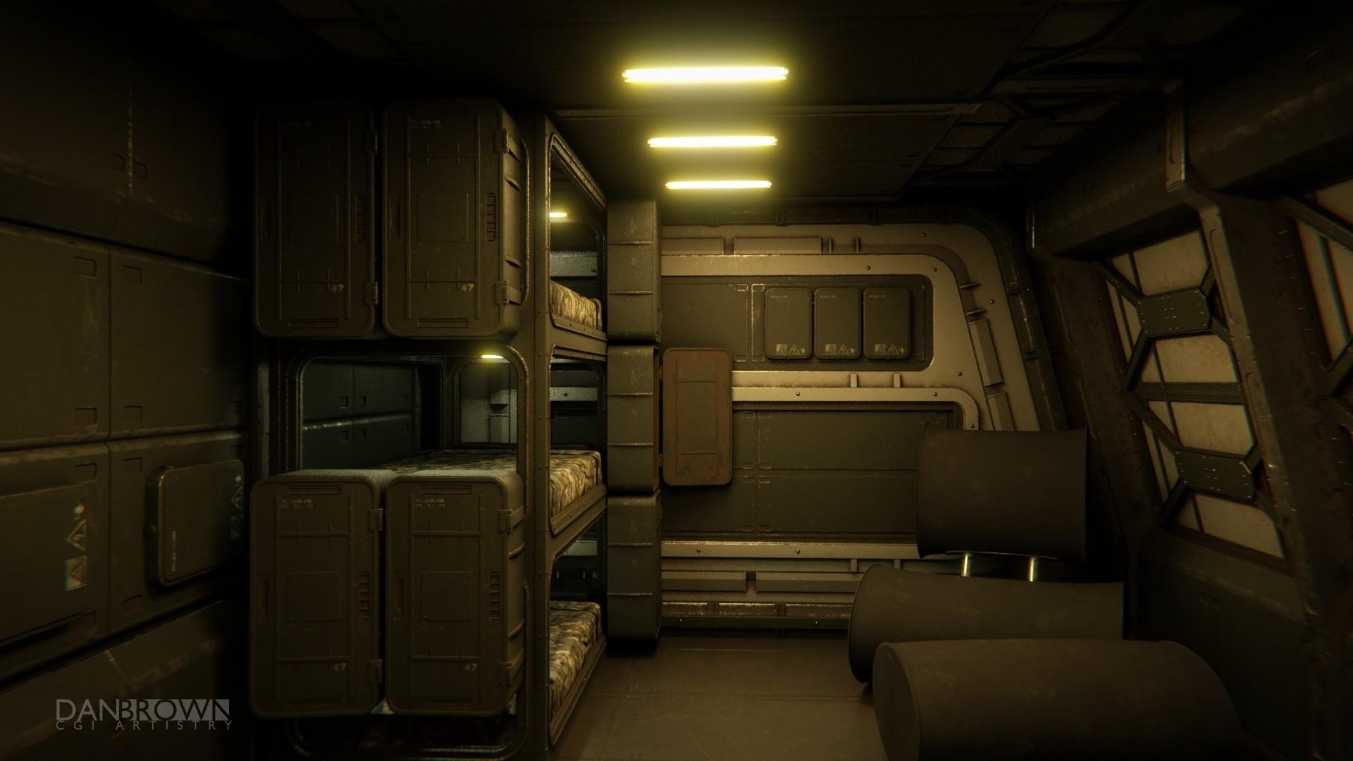 Dan Brown CGI  Scifi Art  Space Freighter Neros Fire Interior WIP