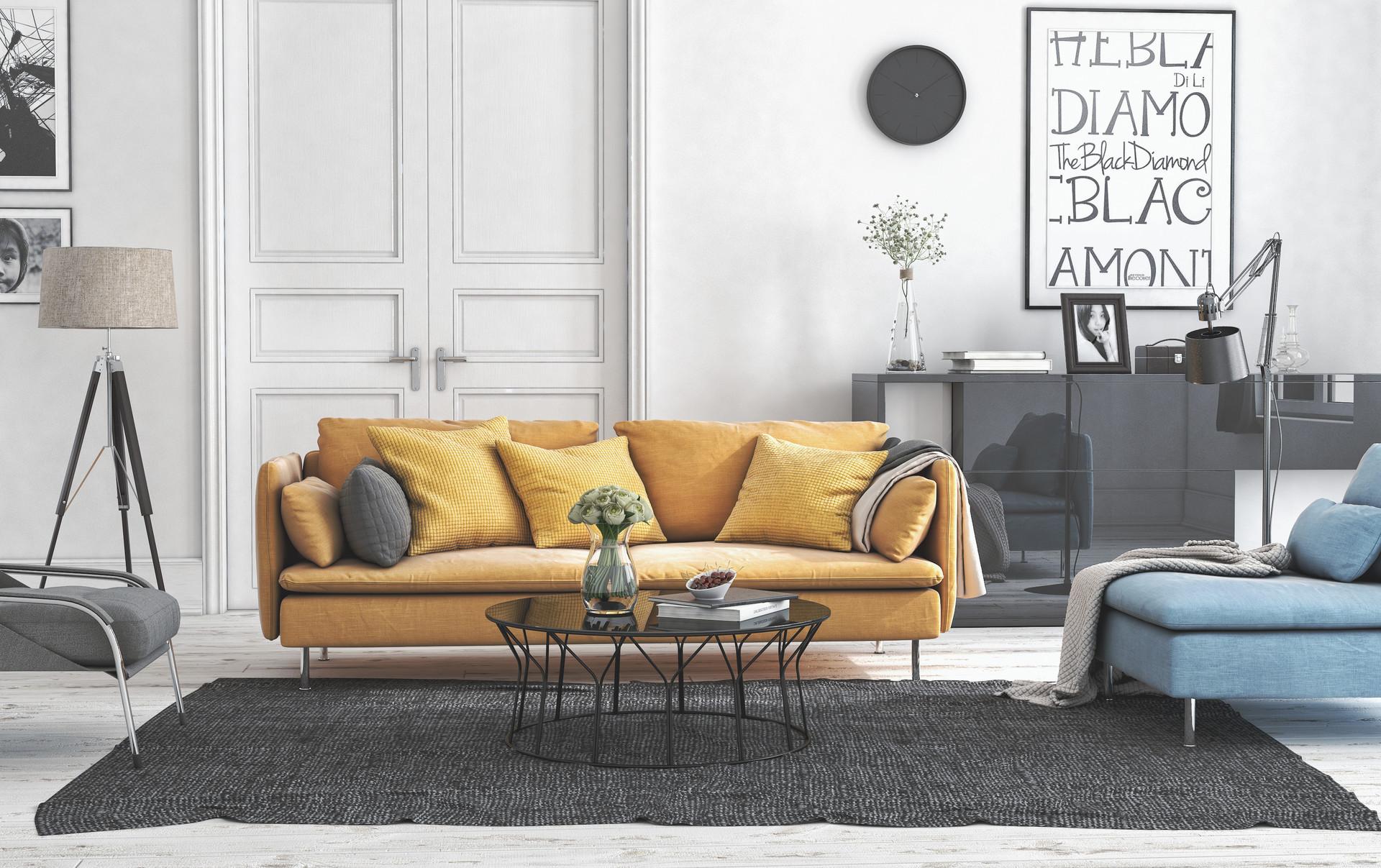 Artstation 3d Okulu Office Work Ikea Living Room Yellow Sofa 3d Okulu