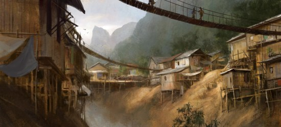 village stilt artwork artstation settlement