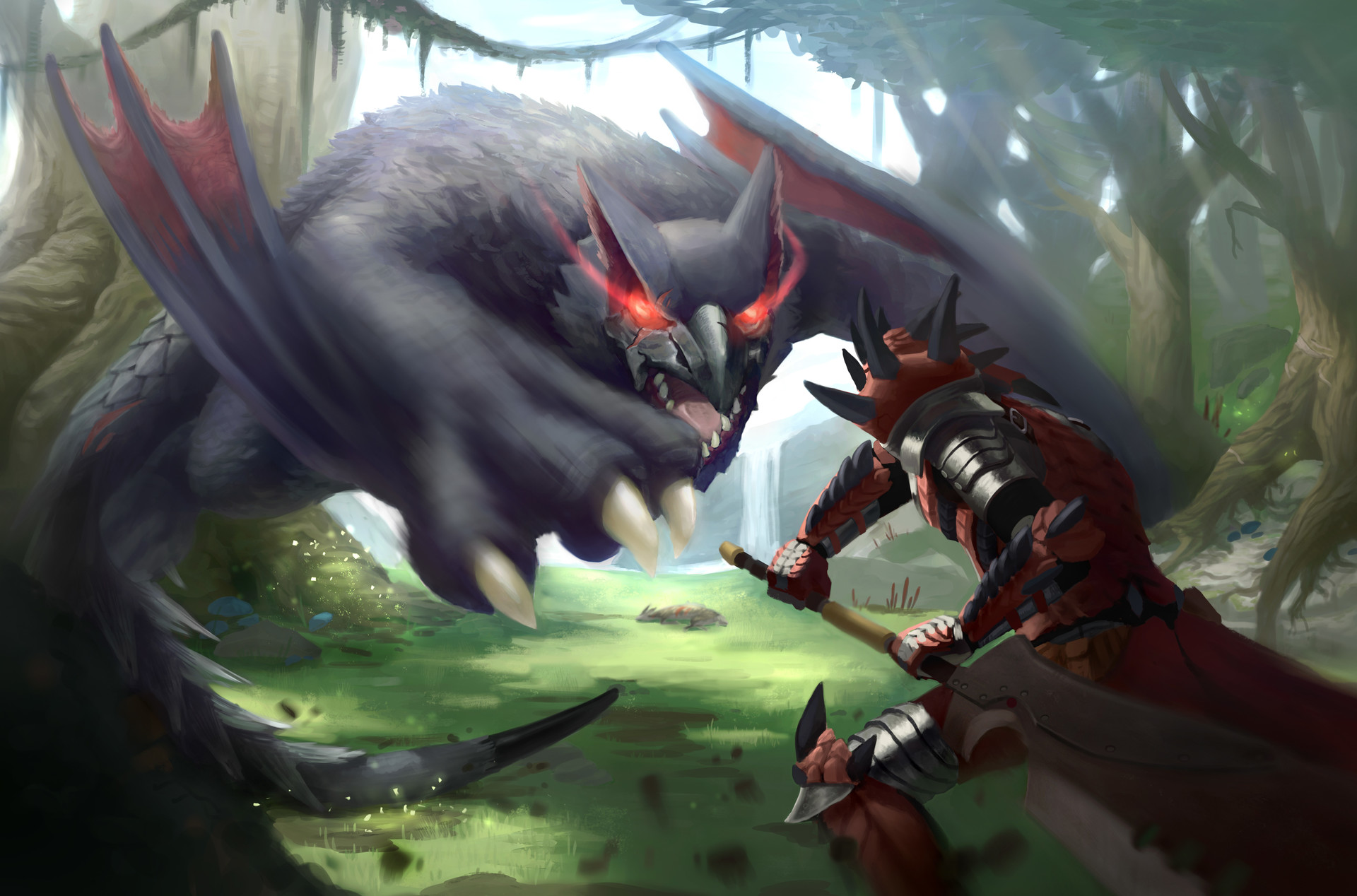Facebook Wallpaper Girl Artstation Nargacuga Attack Pablo Peruzzi