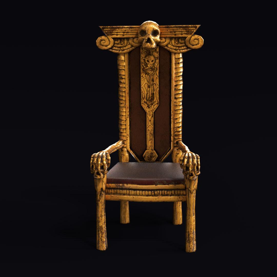 skull chair champagne covers artstation tetsuya okuno blender