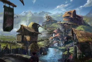 fantasy village town fishing game artwork copyright