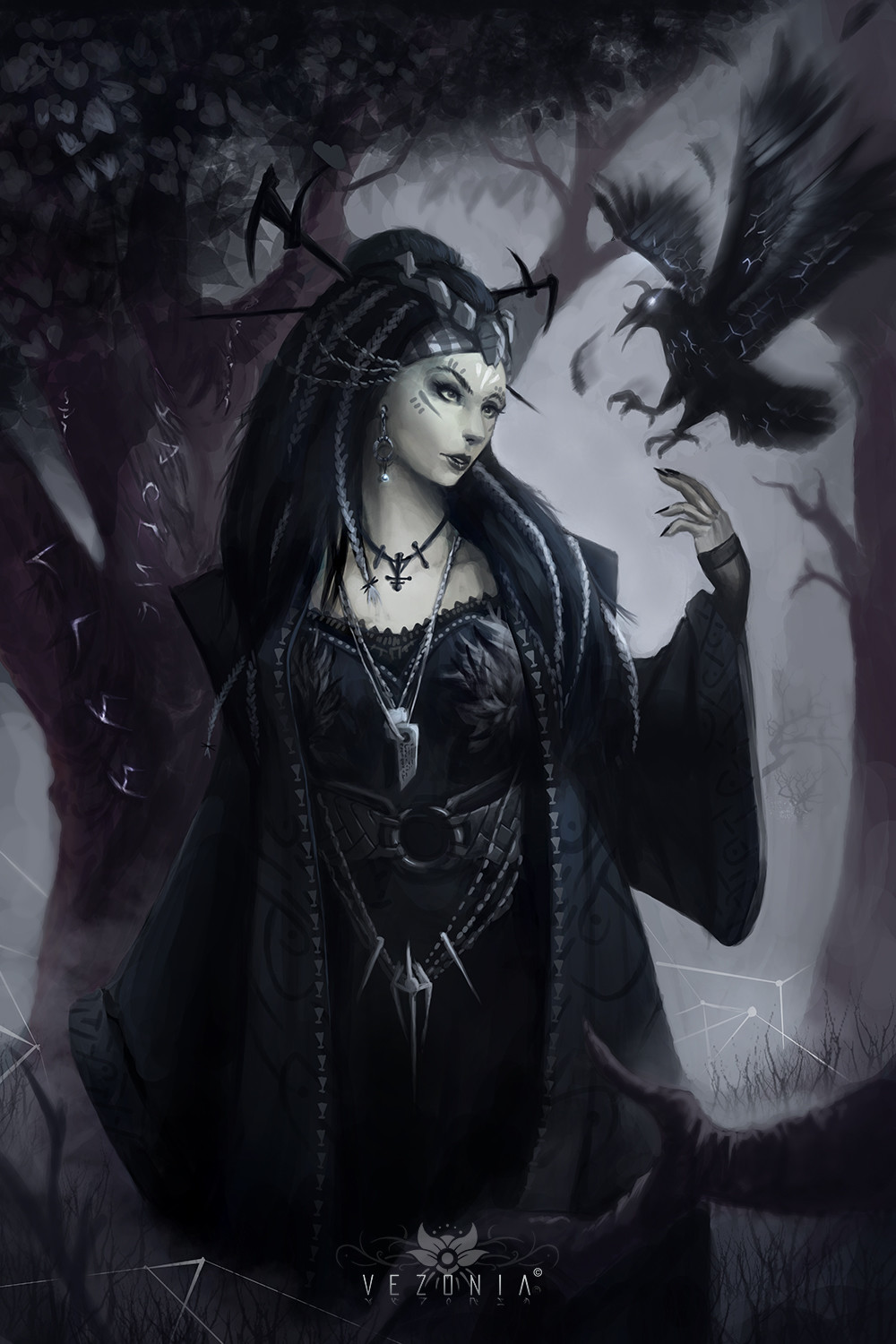 Beautiful Dark Witch and Crows