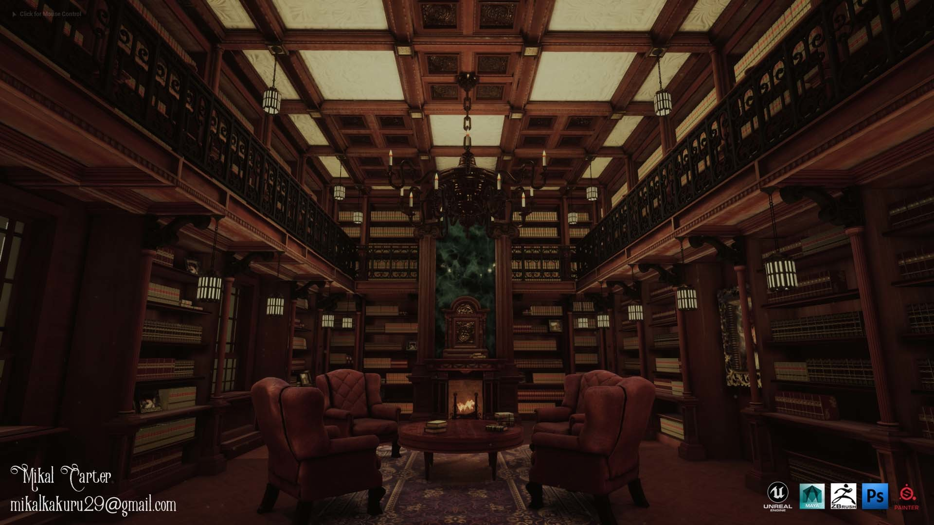 Artstation Victorian Style Personal Library Mikal Carter