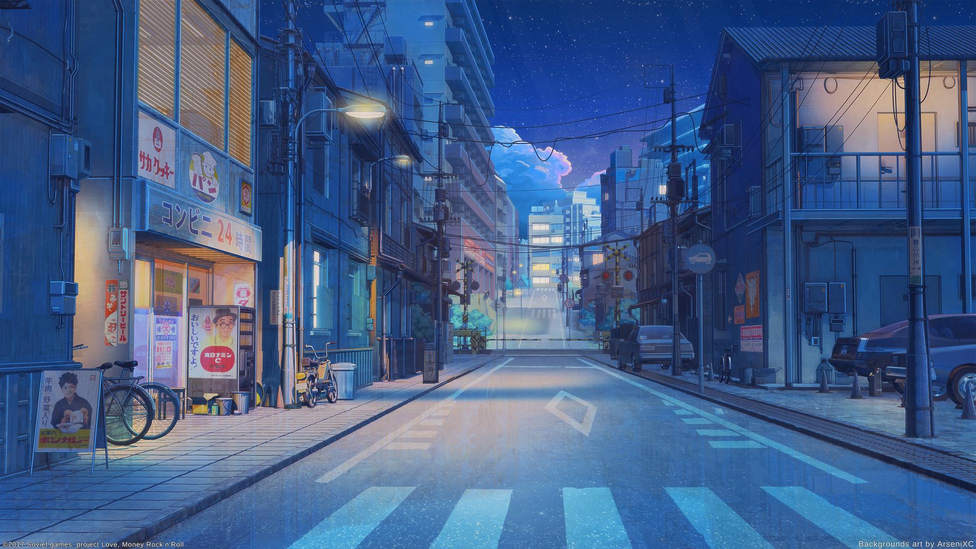 Artstation - Tokyo Street Night Arseniy Chebynkin