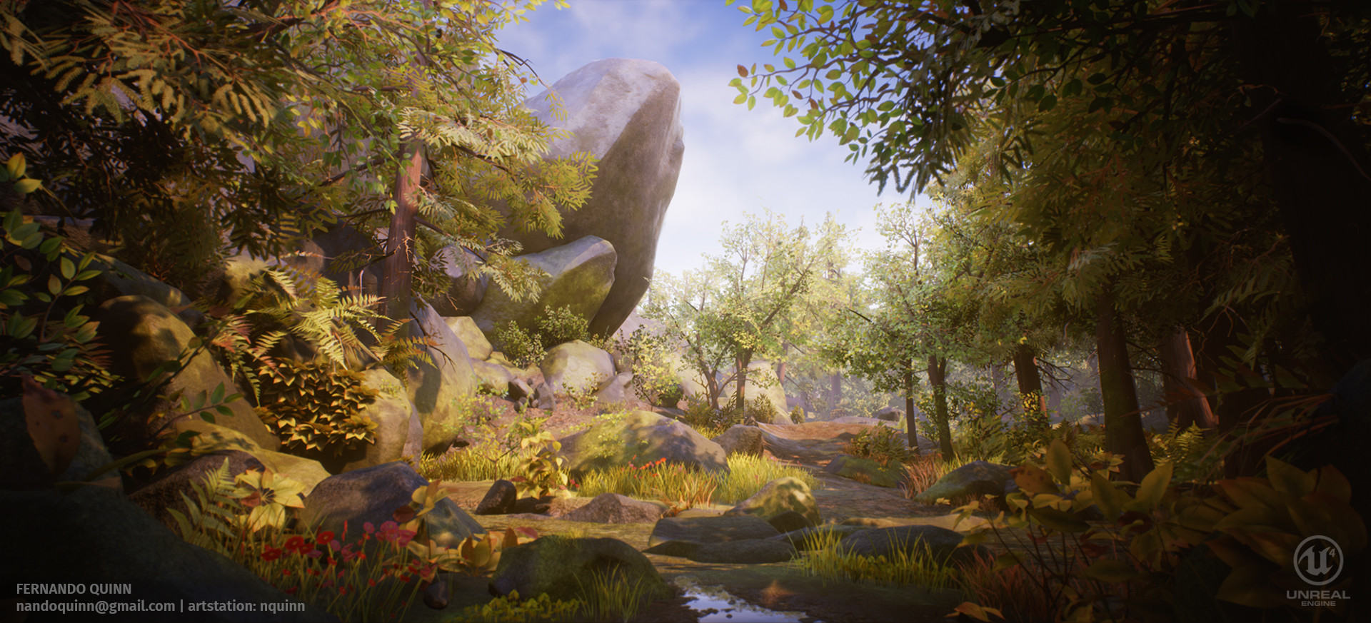 Fall Wallpaper Backgrounds Hd Artstation Forest Rock Ue4 Fernando Quinn
