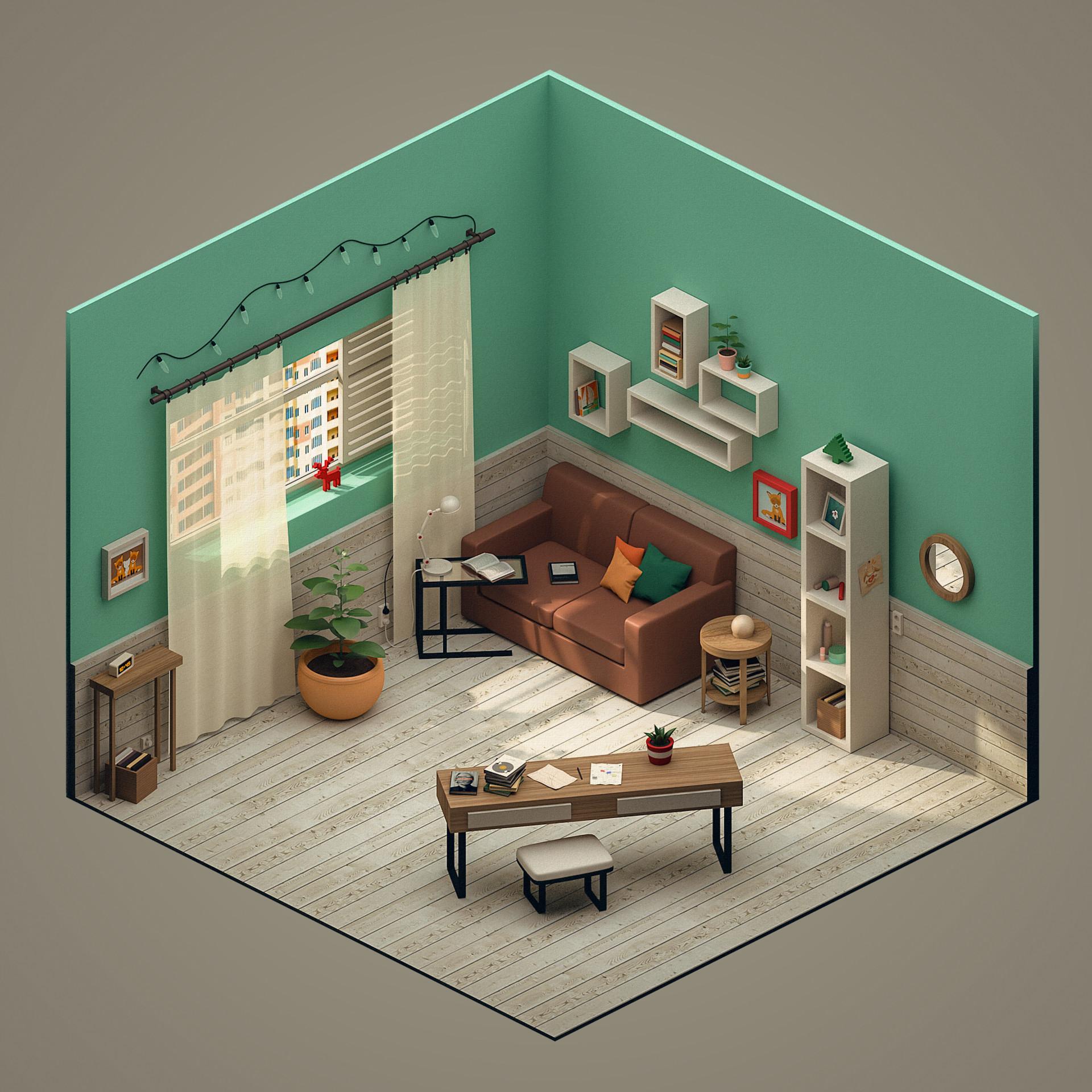 ArtStation  Isometric 3D Room Polina Leskova