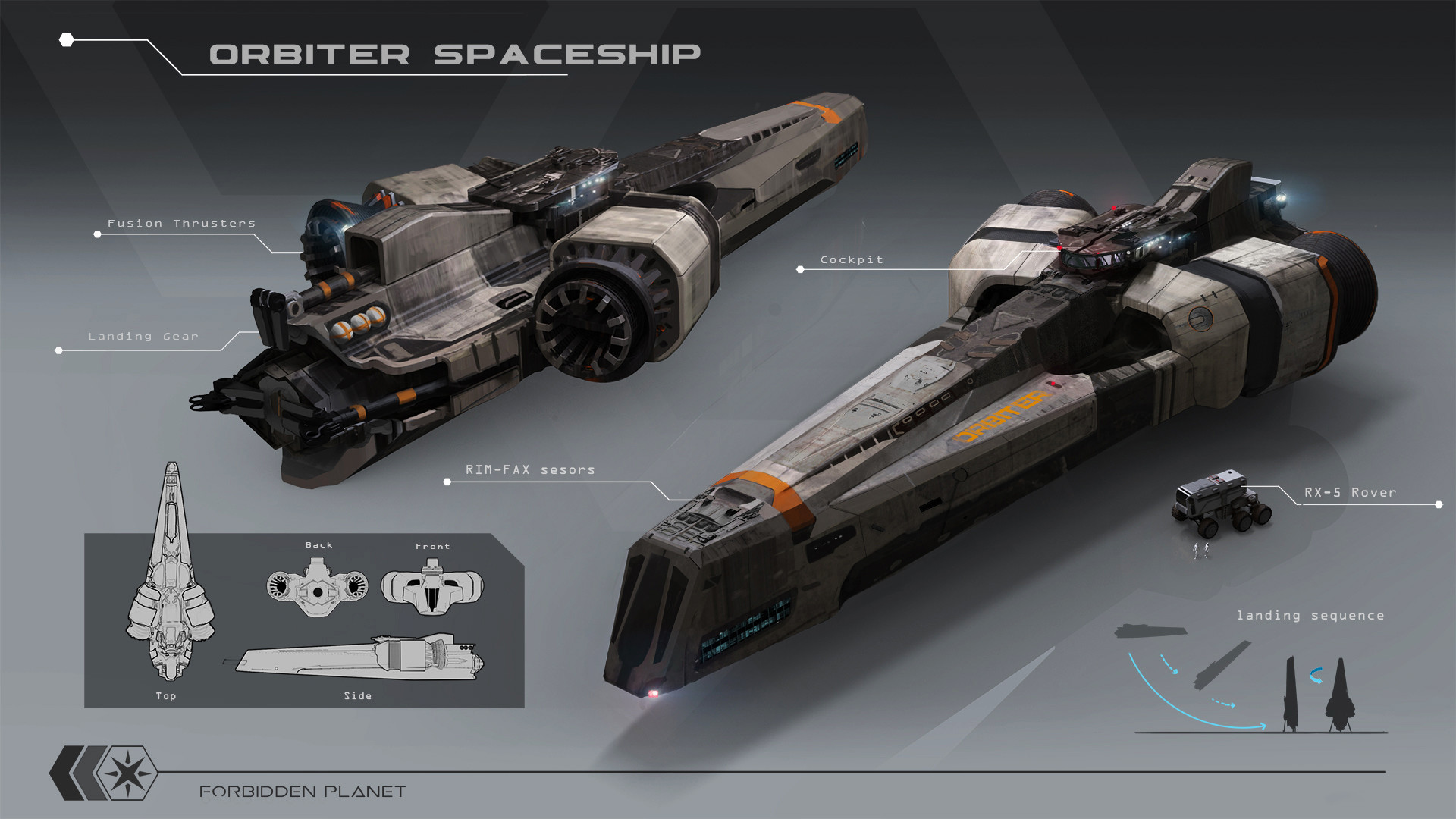 Artstation - Forbidden Planet; Orbiter Spaceship Seif Ragab
