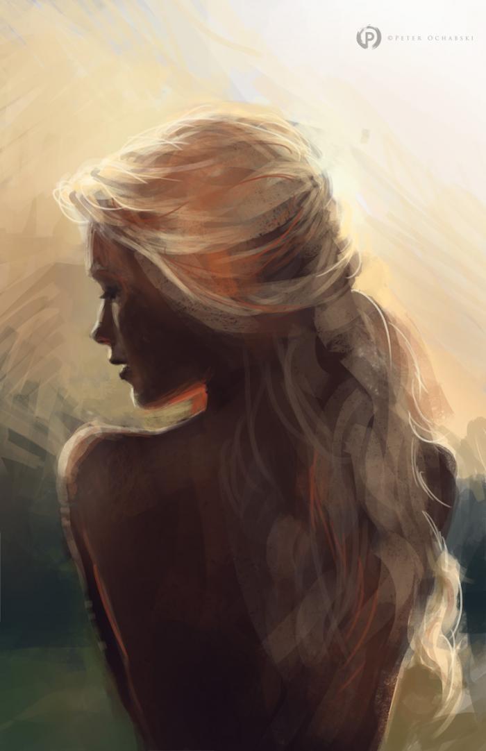 Blonde Hair Painting : blonde, painting, Peter, Ochabski, Sunlight, Woman, Blonde, Painting