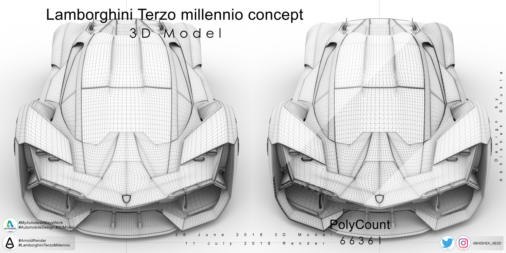 lamborghini terzo millennio 3d model front view as smooth polygon view with wireframe  [ 1920 x 960 Pixel ]