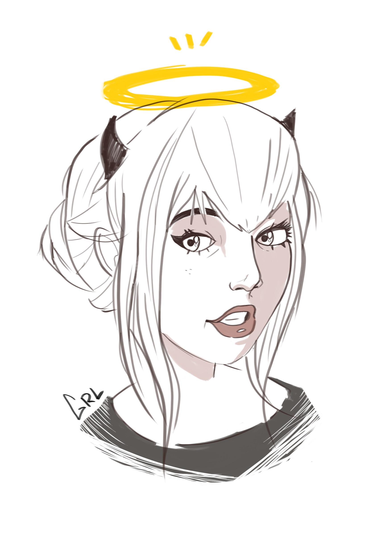 Girl Devil Drawing : devil, drawing, ArtStation, Devil, Sketch,, Yaiza, Blázquez