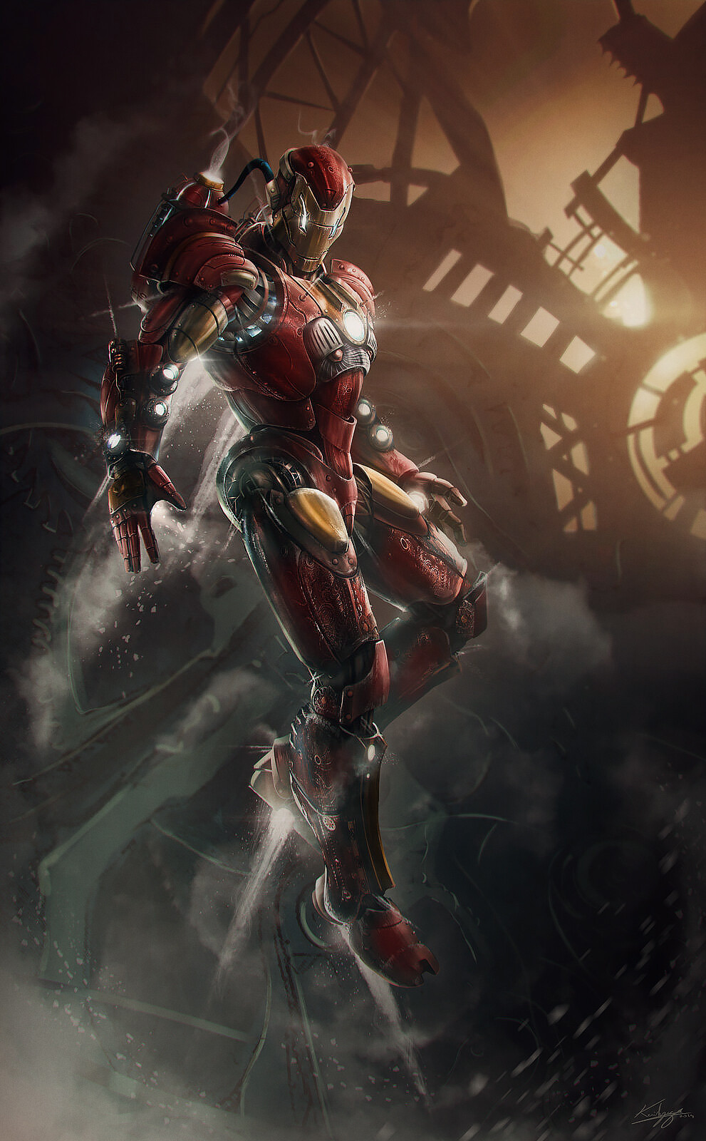 Steampunk Iron Man : steampunk, Thibault, Girard's, Folio,, Concept, Design., Steampunk, Ironman