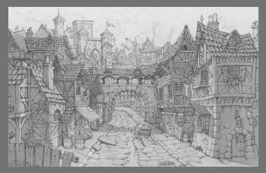 Michael Sormann Medival cartoony Village