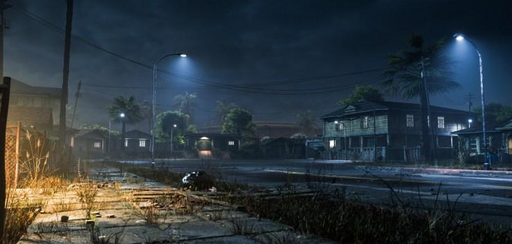 As luzes da rua ficaram muito mais sombrias nesta versão recriada na Unreal Engine.