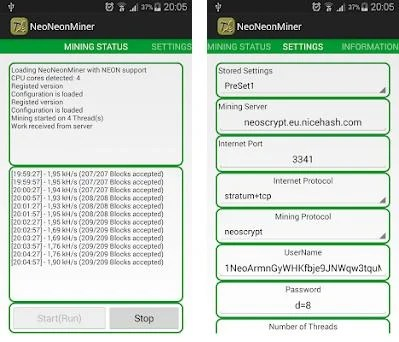 NeoNeonMiner 1 2 8 apk download for Android • com kangaderoo