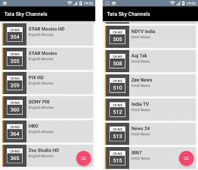 Channel List Tata Sky 1 0 apk download for Android • com