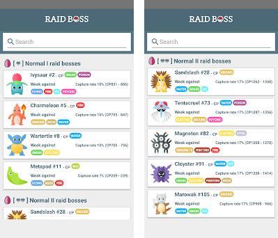 Raid Boss - Tier list and counters for Pokémon GO 5 3 2 apk