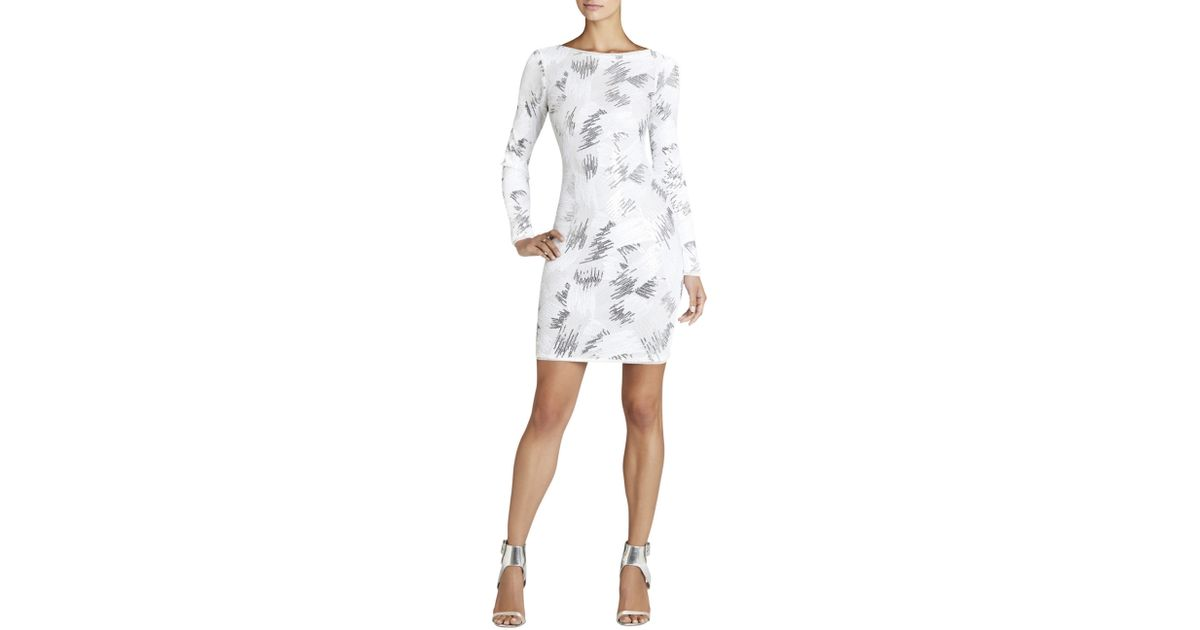 Bcbgmaxazria Kamila Long-sleeve Sequin Dress in White (OFF