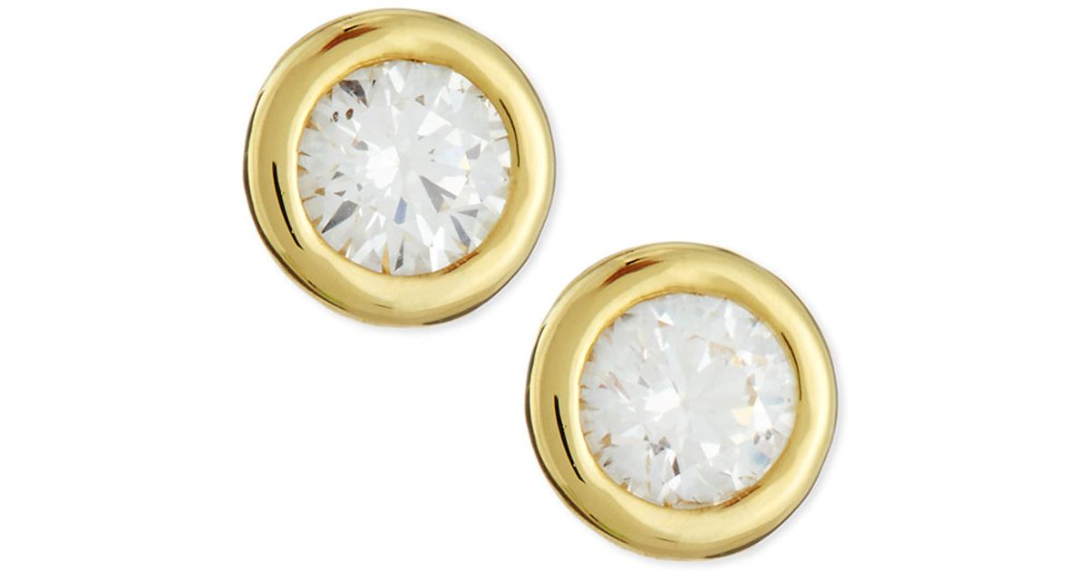 Roberto coin 18k Yellow Gold Diamond Stud Earrings in