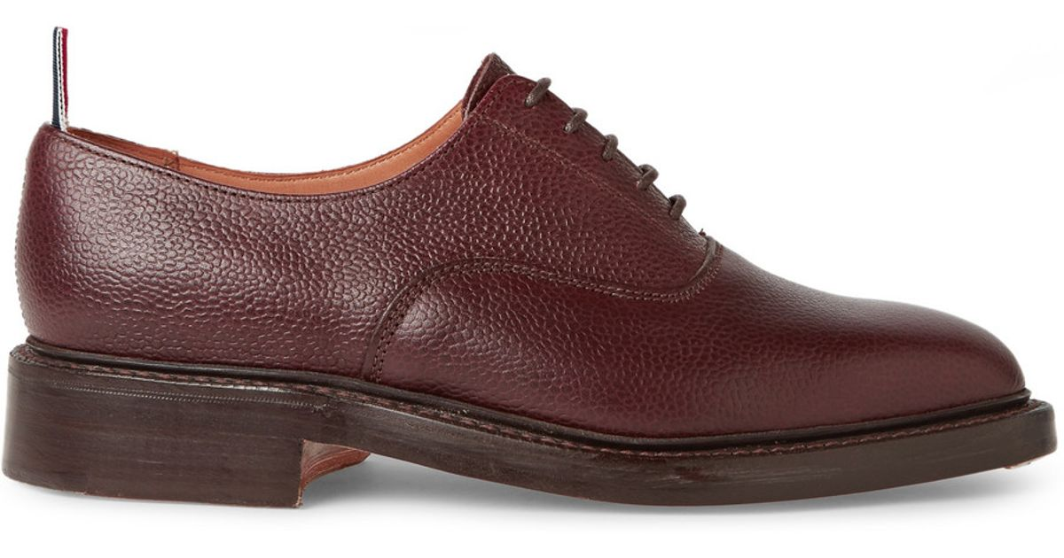 Thom Browne Pebble-Grain Leather Oxford Shoes in Brown for Men - Lyst