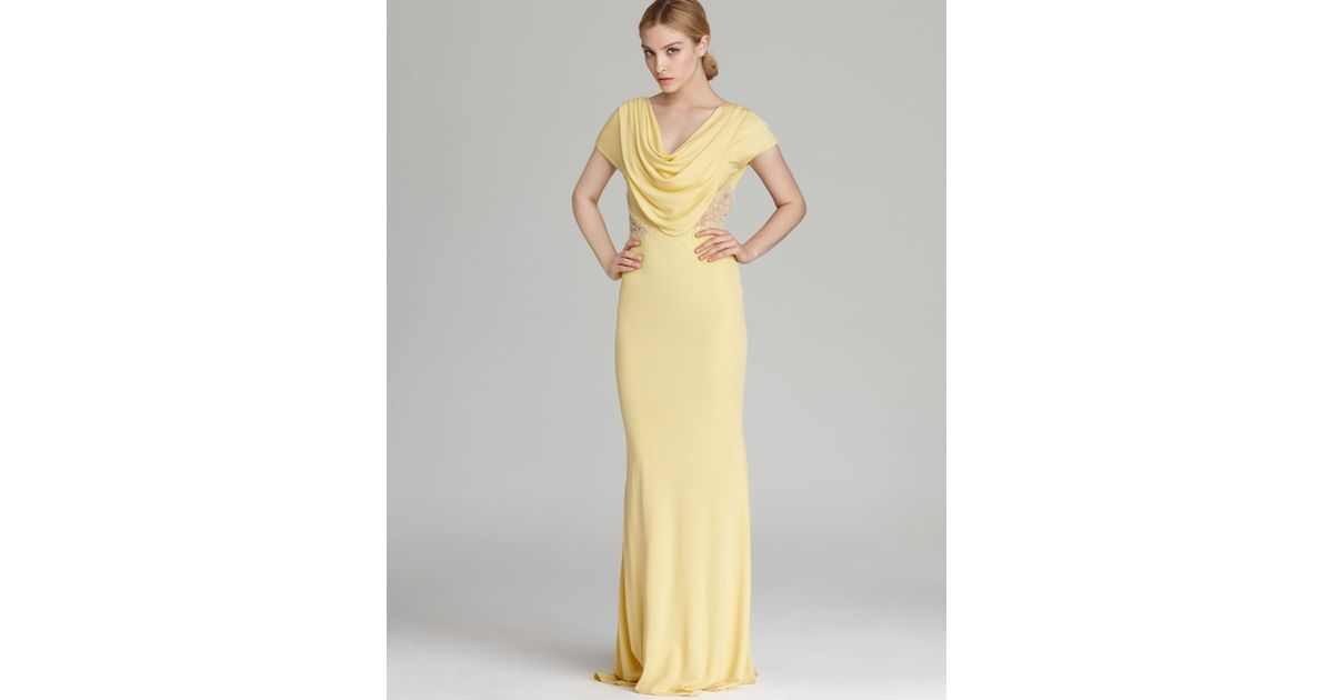 Badgley Mischka Gown Cap Sleeve Cowl Neck In Yellow