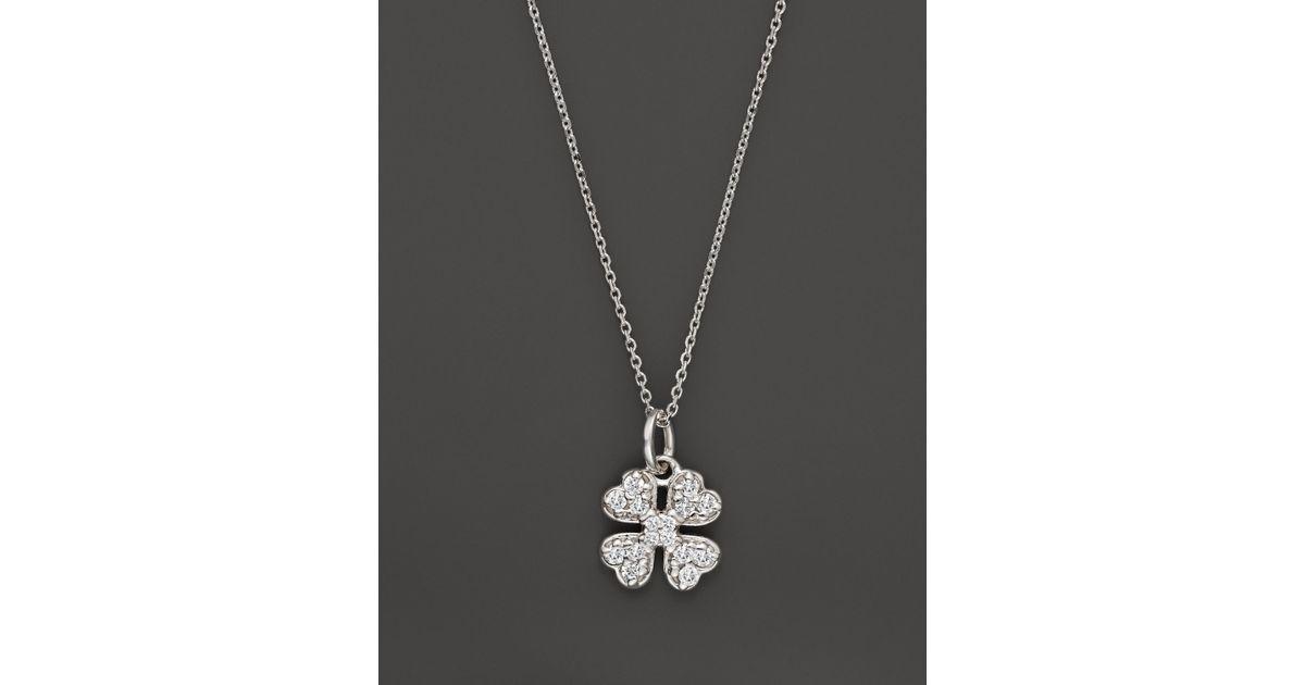 Kc Designs Diamond Clover Pendant Necklace In 14k White